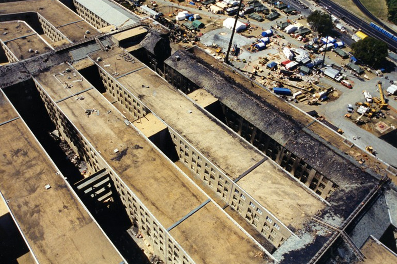 A overhead view of the damage done to the Pentagon.