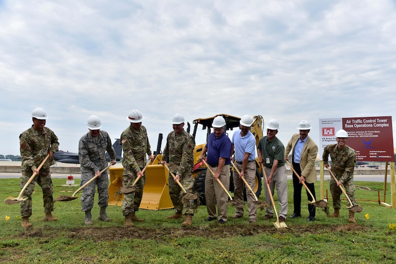 4th Fighter Wing leadership, a United States Army Corps of Engineering representative and members of the community complete the ceremonial groundbreaking during the 4FW Air Traffic Control Tower and Base Operations Complex groundbreaking ceremony Aug. 15, 2019, at Seymour Johnson Air Force Base, North Carolina.