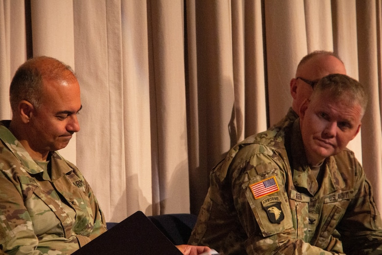 Col Green and Col Takmili participate in the 300th Military Intelligence Brigade Change of Command Ceremony,  August 10, 2019 at the Draper Utah National Guard Headquarters Building (U.S. Army Photo By Sgt. Nathan J. Baker)