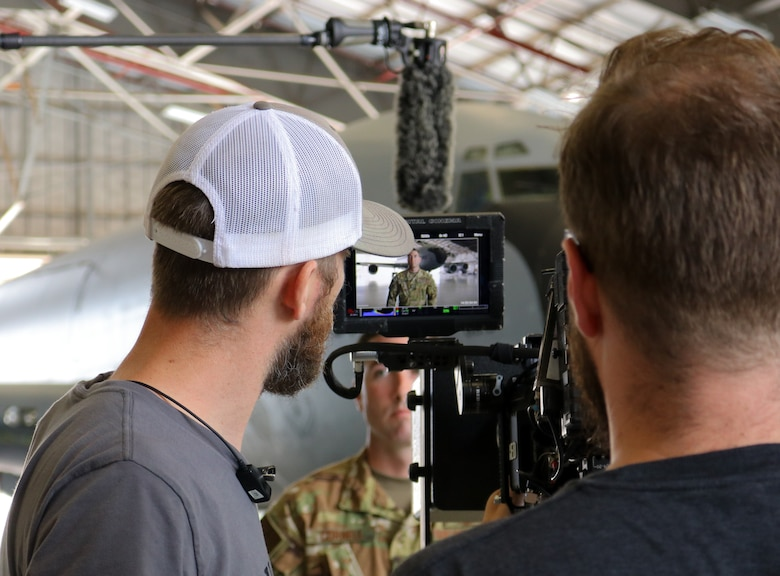 Air Force Recruiting Service films Master Sgt. Ryan Cornell, 465th Air Refueling Squadron boom operator, to highlight enlisted aircrew career fields, Aug. 13, 2019, at Tinker Air Force Base, Oklahoma. (U.S. Air Force photo by Senior Airman Mary Begy)