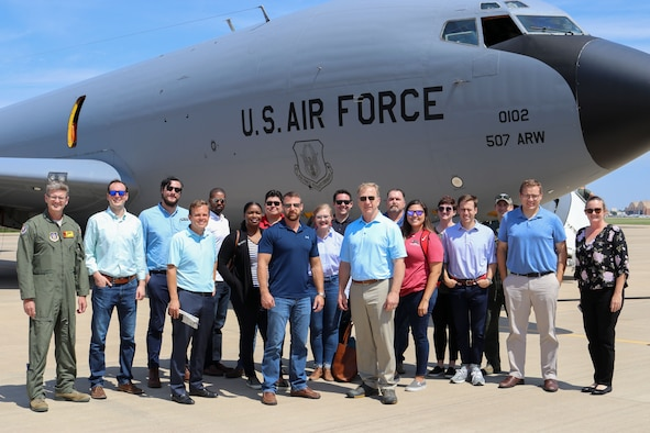 Congressmen and their staff stand for a group photo after a congressional orientation flight on a 507th Air Refueling Wing KC-135R Stratotanker Aug. 15, 2019, at Tinker Air Force Base, Oklahoma. The Okies shared the Reserve mission and a unique experience with the congressional delegation. (U.S. Air Force photo by Senior Airman Mary Begy)
