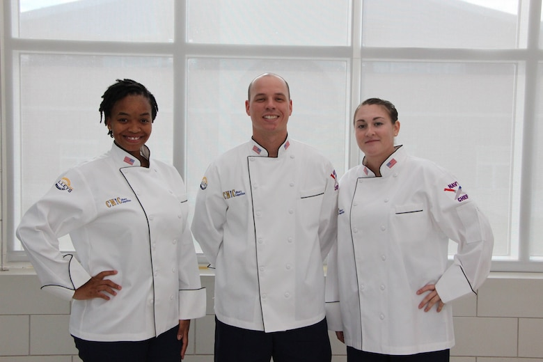 Staff Sgt. Cherise Hood (left), Staff Sgt. Joshua Parnell (middle) and Senior Airman Alyssa Ross (right), assigned to the 36th Force Support Squadron, represented Joint Region Marianas at the Tenth Annual Commander, Navy Installations Command (CNIC) Culinary Competition July 25, 2019 at Naval Station Great Lakes, Ill.