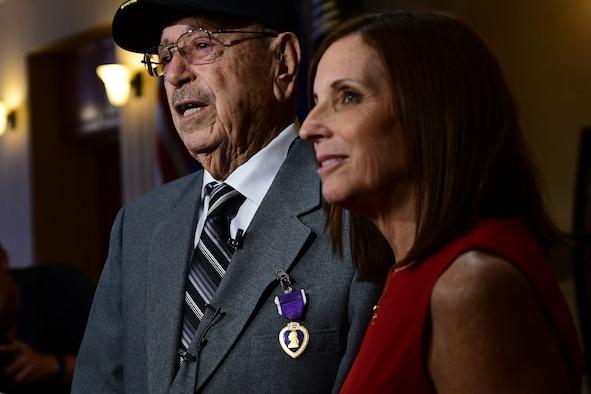 a photo of Senator Martha McSally and Walter Ram, a purple heart recepient