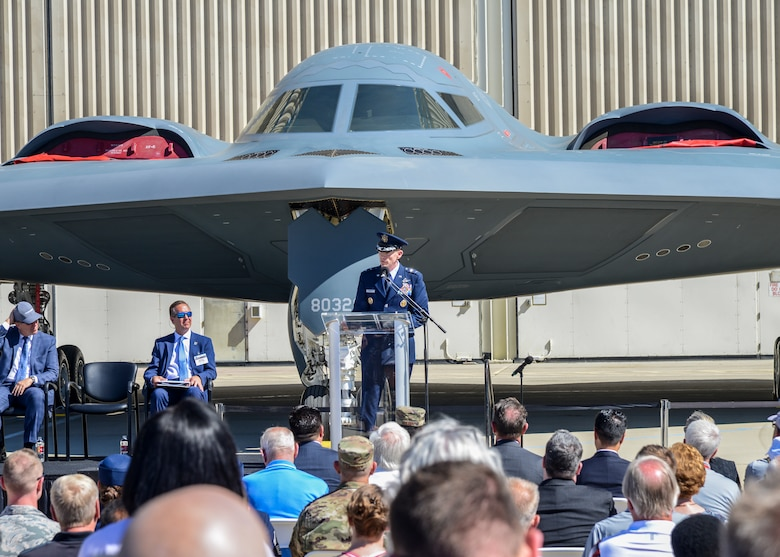 "Maj. Gen. James Dawkins, 8th Air Force and Joint-Global Strike Operations commander, addresses local government officials, Airmen and Northrop Grumman employees during the B-2 Spirit's 30th anniversary celebration at Plant 42 in Palmdale, California, Aug. 20. Dawkins flew a B-2 Spirit nicknamed ""The Spirit of Pennsylvania"" into combat bombing missions during Operation Enduring Freedom. (U.S. Air Force photo by Giancarlo Casem)"