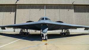 A B-2 Spirit is displayed in front of a hangar at Plant 42 in Palmdale, California, Aug. 20. The plane was on display in support of the B-2 Spirit's 30th anniversary celebration. (U.S. Air Force photo by Giancarlo Casem)