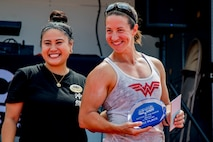 U.S. Navy Lt. Kimberly Pistell with Marine Wing Support Squadron 172 competed and won first place in the female weight class up to 150 pounds in Okinawa's Strongest: Battle of the North, Aug. 18, 2019, Camp Hansen, Okinawa, Japan. The competition challenges men and women to compete in physically demanding events to find the strongest on the island.