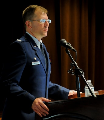 Col. Parker Wright, National Air and Space Intelligence Center commander, speaks during the center's Commander's Award for Merit ceremony, Aug. 2 at the Wright-Patterson Club at Wright-Patterson Air Force Base, Ohio. The CAM awards have been around since 1974 and recognize NASIC's top performers.