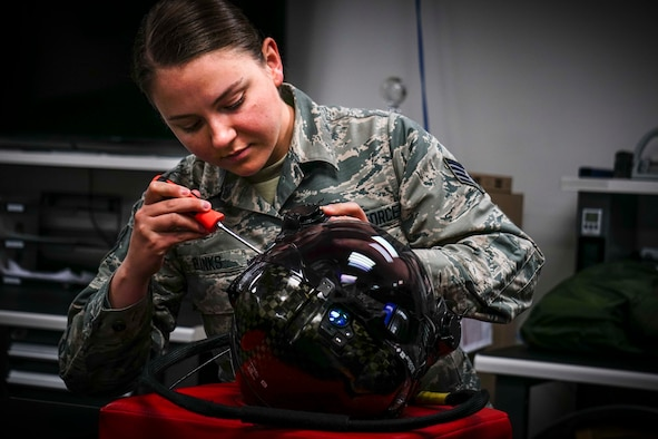 Staff Sgt. Rachel Blanks, aircrew flight equipment craftsman in the 419th Operations Support Flight, performs a 30-day inspection on an F-35 helmet