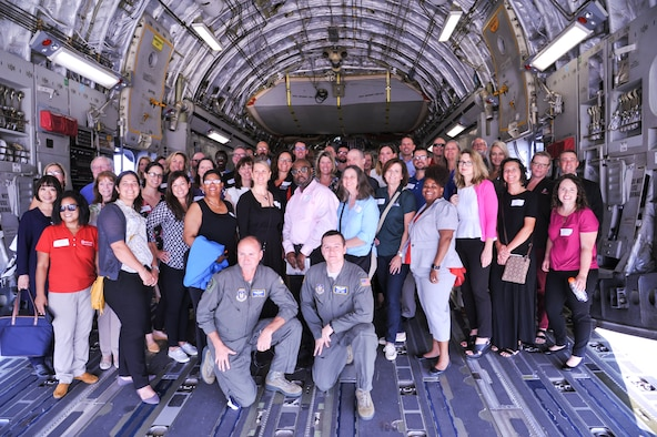 Guests from the Miami Valley Higher Education Consortium took a look inside one of the 445th Airlift Wing's C-17 aircraft. The plane visit was part of an all day tour that took place August 6. (U.S. Air Force photo/Pamela Piccoli)