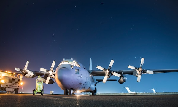 A U.S. Air Force C-130H Hercules assigned to the 746th Expeditionary Airlift Squadron receives fuel Nov. 6, 2018, at an undisclosed location. U.S. and Coalition aircraft provide unmatched combat capability in support of U.S. Central Command military objectives. (U.S. Air Force photo/Staff Sgt. Clayton Cupit)