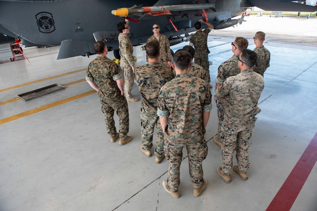 U.S. Marines with Explosive Ordnance Disposal assigned to the 8th Engineer Support Battalion, 2nd Marine Logistics Group, get refamiliarized with weaponry on an F-15E Strike Eagle, August 14, 2019, at Seymour Johnson Air Force Base, North Carolina. 4th Civil Engineer Squadron EOD technicians, helped instruct the familiarization training. (U.S. Air Force photo by Senior Airman Kenneth Boyton)
