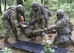 U.S. Army Reserve Soldiers of the 850th Transportation Company, headquartered in Lyons, Georgia, place a simulated injured Soldier on a litter as part of lanes testing at Fort McCoy, Wisconsin, Aug. 14, 2019. Lane training is a process used to evaluate unit training progress. It also gives unit leadership an update report on training already conducted at their home duty stations. (U.S. Army Reserve photo by Staff Sgt. Doug Anderson.)
