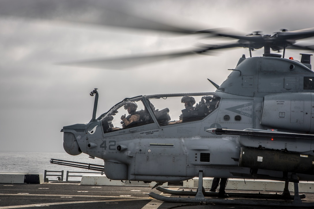 A AH-1Z Viper attached to Marine Medium Tiltrotor Squadron 163, 11th Marine Expeditionary Unit, sits on the flight deck of the amphibious transport dock ship USS John P. Murtha. The Boxer Amphibious Ready Group and 11th MEU are deployed to the U.S. 5th Fleet area of operations in support of naval operations to ensure maritime stability and security in the Central Region, connecting the Mediterranean and the Pacific through the Western Indian Ocean and three strategic choke points.