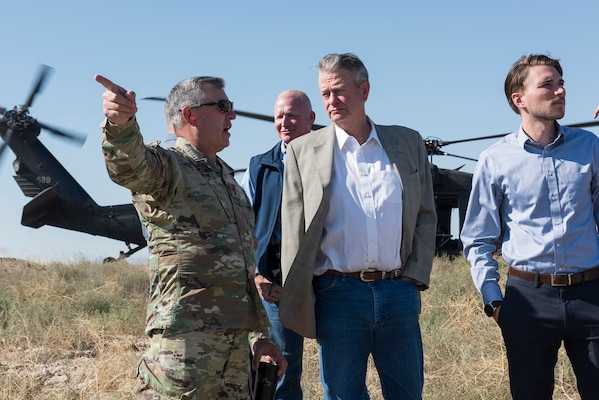 Idaho Gov. Brad Little met with several key military leaders Aug. 19, 2019, at the Orchard Combat Training Center to receive an update on current Idaho National Guard programs and major upcoming events and exercises. The OCTC plays a large role in the readiness and training of Idaho Army National Guard Soldiers and Idaho Air National Guard Airmen.