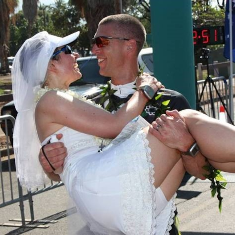 Khvasecko has ran in all 50 states twice and has made many memorable events along the way. At a marathon in Wisconsin, she met her husband to be, Maj. Shane Garling, and he proposed to her at another marathon in Louisiana. On Jan. 19, 2014, Khvasecko and Garling exchanged wedding vows during the Maui Oceanfront Marathon in Maui, Hawaii. (Courtesy photo)