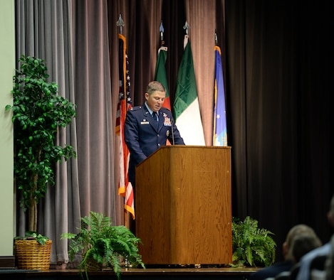 Col. Michael Conley, 1st Special Operations Wing commander, gives a speech at Special Undergraduate Pilot Training Class's 19-21/22 graduation ceremony Aug. 16, 2019, at Columbus Air Force Base, Miss. Conley is also a pilot and has 2,400 flight hours. (U.S. Air Force photo by Airman Davis Donaldson)
