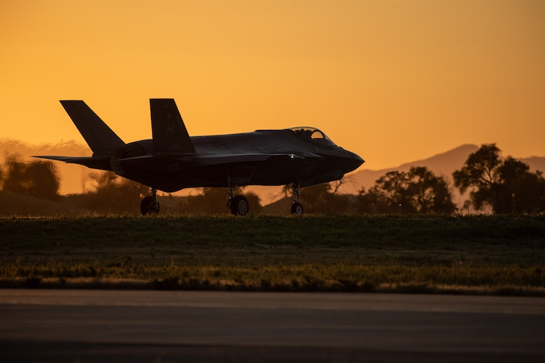 An F-35A taxis prior to take off from Hill Air Force Base, Utah, the evening of Aug. 20, 2019, as the active duty 388th and reserve 419th Fighter Wings conducted local night flying operations. The wings are required to train at night to maintain their readiness and all-weather capabilities. Increased flying also provides a valuable opportunity to evaluate aircraft maintenance resiliency and operational agility. (U.S. Air Force photo by R. Nial Bradshaw)