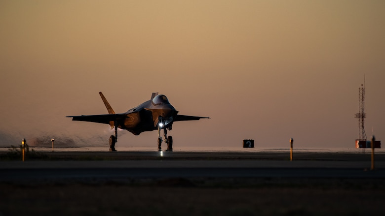 An F-35A begins to speed down the runway prior to take off from Hill Air Force Base, Utah, the evening of Aug. 20, 2019, as the active duty 388th and reserve 419th Fighter Wings conducted local night flying operations. The wings are required to train at night to maintain their readiness and all-weather capabilities. Increased flying also provides a valuable opportunity to evaluate aircraft maintenance resiliency and operational agility. (U.S. Air Force photo by R. Nial Bradshaw)