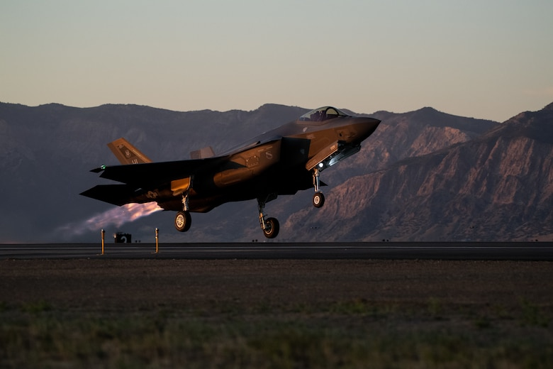 An F-35A lifts off from Hill Air Force Base, Utah, the evening of Aug. 20, 2019, as the active duty 388th and reserve 419th Fighter Wings conducted local night flying operations. The wings are required to train at night to maintain their readiness and all-weather capabilities. Increased flying also provides a valuable opportunity to evaluate aircraft maintenance resiliency and operational agility. (U.S. Air Force photo by R. Nial Bradshaw)
