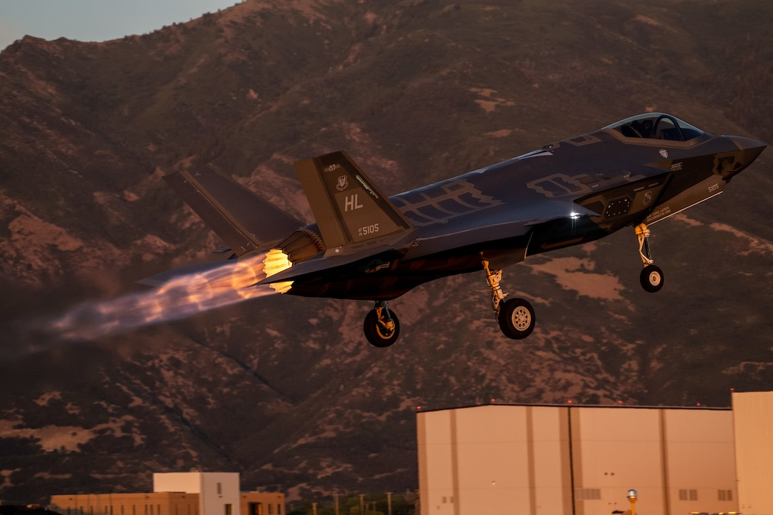 An F-35A takes off from Hill Air Force Base, Utah, the evening of Aug. 20, 2019, as the active duty 388th and reserve 419th Fighter Wings conducted local night flying operations. The wings are required to train at night to maintain their readiness and all-weather capabilities. Increased flying also provides a valuable opportunity to evaluate aircraft maintenance resiliency and operational agility. (U.S. Air Force photo by R. Nial Bradshaw)