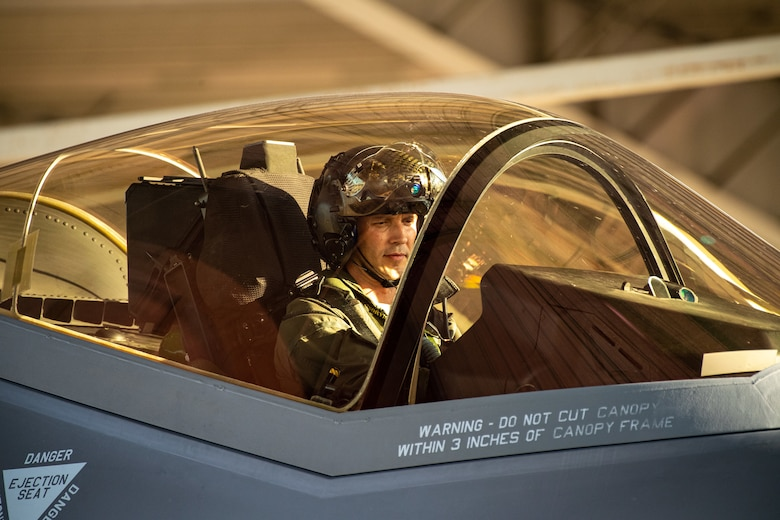 Lt. Col. Benjamin Harrison, 466th Fighter Squadron commander, performs pre-flight actions in an F-35A prior to take off from Hill Air Force Base, Utah, the evening of Aug. 20, 2019, as the active duty 388th and reserve 419th Fighter Wings conducted local night flying operations. The wings are required to train at night to maintain their readiness and all-weather capabilities. Increased flying also provides a valuable opportunity to evaluate aircraft maintenance resiliency and operational agility. (U.S. Air Force photo by R. Nial Bradshaw)