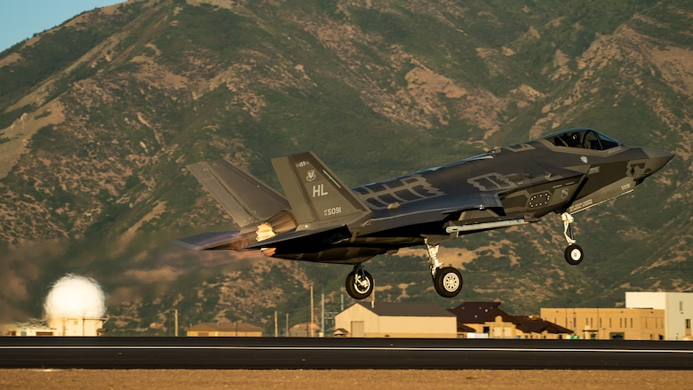 An F-35A takes off from Hill Air Force Base, Utah, the evening of Aug. 20, 2019, as the active duty 388th and reserve 419th Fighter Wings conducted local night flying operations. The wings are required to train at night to maintain their readiness and all-weather capabilities. Increased flying also provides a valuable opportunity to evaluate aircraft maintenance resiliency and operational agility. (U.S. Air Force photos by R. Nial Bradshaw)