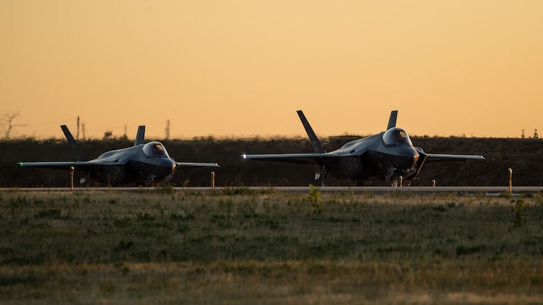 F-35As prepare to take off from Hill Air Force Base, Utah, the evening of Aug. 20, 2019, as the active duty 388th and reserve 419th Fighter Wings conducted local night flying operations. The wings are required to train at night to maintain their readiness and all-weather capabilities. Increased flying also provides a valuable opportunity to evaluate aircraft maintenance resiliency and operational agility. (U.S. Air Force photos by R. Nial Bradshaw)