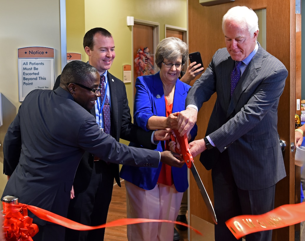 U.S. Senator John Cornyn and officials with Veteran Affairs cut the ribbon to officially open the VA clinic in San Angelo, Texas, August 20, 2019. The new clinic will offer services such as physical therapy, urgent care, and optometry to local veterans. (U.S. Air Force photo by Airman 1st Class Ethan Sherwood/Released)
