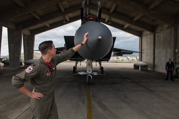 U.S. Air Force Capt. Cole Holloway a pilot from the 67th Fighter Squadron, looks at an F-15C Eagle Dec. 14, 2018, on Kadena Air Base, Japan.