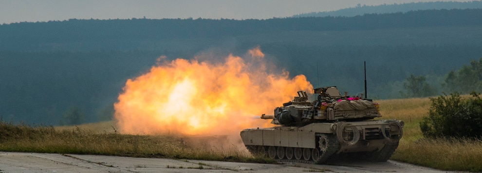 U.S. Army M1A2 Abram tank Troops fire live ammunition during a Combined Resolve training exercise in Grafenwoehr Training Area, August, 8, 2019.