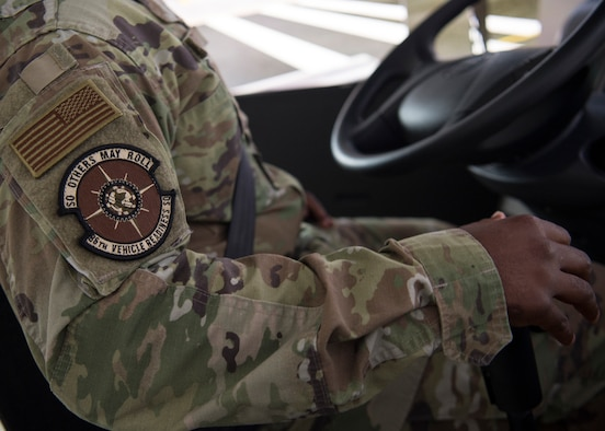 U.S. Air Force Master Sgt. Daniel Moffett, 86th Vehicle Readiness Squadron noncommissioned officer in charge of training validation and operations, tries out the 86th VRS's new vehicle simulator at Ramstein Air Base, Germany, Aug. 7, 2019.