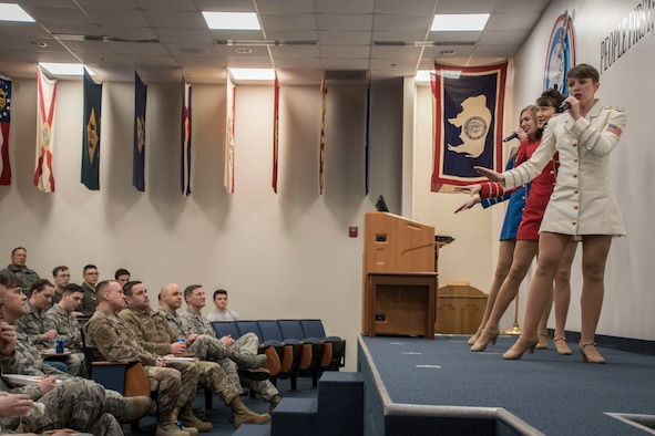 The USO Show Troupe, based out of New York City, performs for members of the 179th Airlift Wing March 10, 2019 at the 179th Airlift Wing, Mansfield, Ohio. The Troupe travels throughout the world, performing for troops, veterans and civilians to provide entertainment and raise awareness of the USO to better serve the troupes. (U.S. Air National Guard photo by Airman 1st Class Alexis Wade)