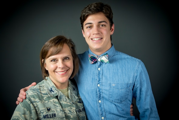 Col. Allison C. Miller, 179th Airlift Wing Commander, proudly poses with her son Campbell Miller for a photograph March 10, 2019 at the 179th Airlift Wing, Mansfield, Ohio. Miller's son, Campbell, a 17-year-old senior at Mansfield Christian High School, was recently selected as the winner of Operation Homefront's Military Child of the Year® for the National Guard (U.S. Air National Guard photo by Tech. Sgt. Joe Harwood)
