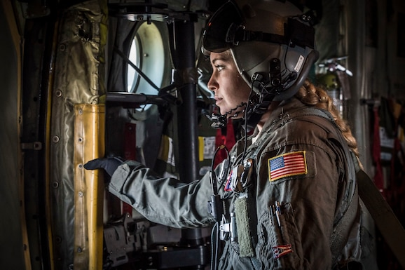 Staff Sgt. Kaitlyn Mueller, loadmaster with the 164th Airlift Squadron, conducts in-flight operations April 11, 2019, at Pope Army Airfield, Fayetteville, North Carolina. Members from 164th Airlift Squadron participated in training air drops to include personnel drops with the 82nd Airborne Division. (U.S. Air National Guard Photo by Airman 1st Class Alexis Wade)