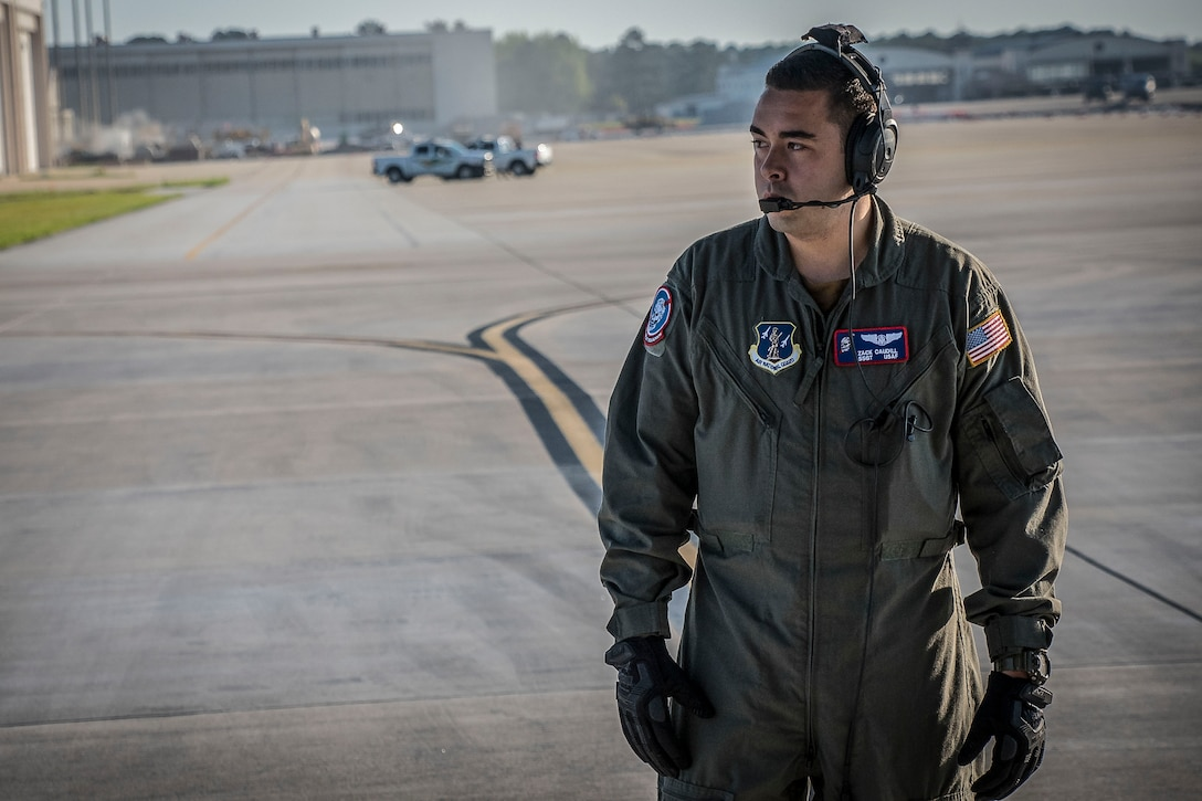 Staff Sgt. Zack Caudill, loadmaster with the 164th Airlift Squadron, conducts pre-flight inspections April 11, 2019, at Pope Army Airfield, Fayetteville, North Carolina. Members from 164th Airlift Squadron participated in training air drops to include personnel drops with the 82nd Airborne Division. (U.S. Air National Guard Photo by Airman 1st Class Alexis Wade)