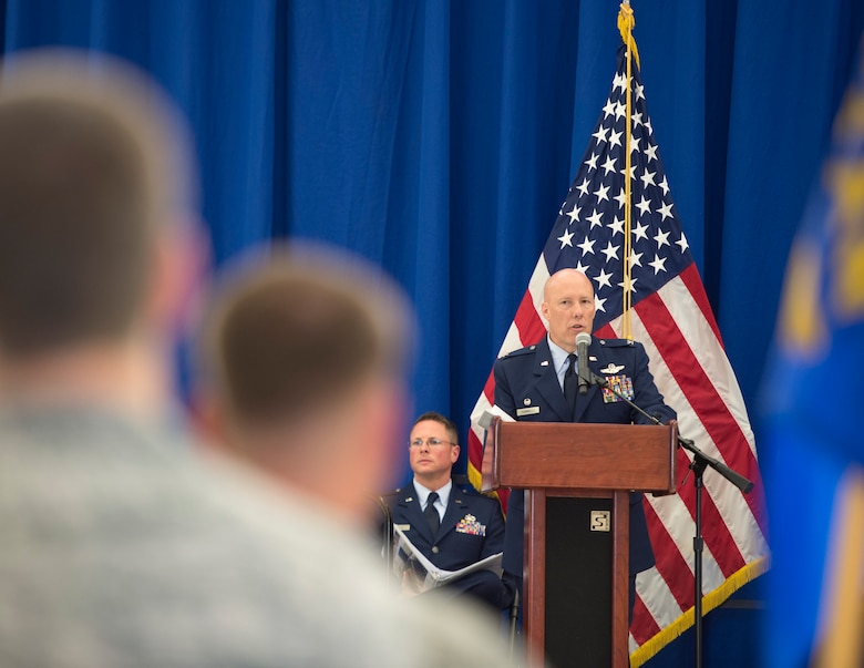 U.S. Air Force Col. Daniel Gabrielli, 133rd Airlift Wing commander, speaks to Airmen, family, and friends before relinquishing command in St. Paul, Minn., Aug., 16, 2019.
