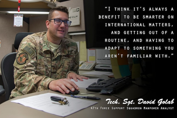 Tech. Sgt. David Golab, 47th Force Support Squadron manpower analyst, discusses his time overseas in this week's Airman's Spotlight, August 22, 2019. As part of the Language Enabled Airman Program, or LEAP, Golab recently took a temporary duty to Poland to learn about foreign relations and how to effectively communicate with international partners. (U.S. Air Force graphic by Senior Airman Daniel Hambor)