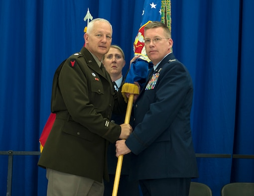 U.S. Air Force Col. James Cleet receives command of the 133rd Airlift Wing from U.S. Army Maj. Gen. Jon Jensen, Adjutant General, Minnesota National Guard, in St. Paul, Minn., Aug., 16, 2019.