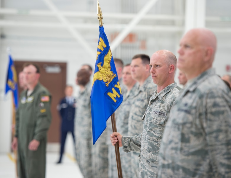 U.S. Air Force Airmen from the 133rd Airlift Wing stand in formation during the 133rd Airlift Wing change of command ceremony in St. Paul, Minn., Aug., 16, 2019.