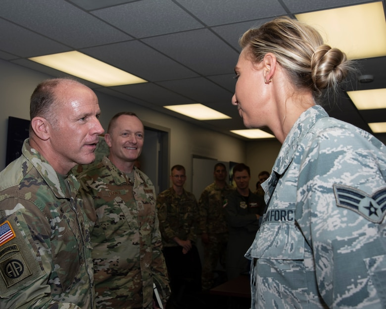 General Lyons and CMSgt France greet Airmen from Pope and Charleston during their visit to Ft Bragg.