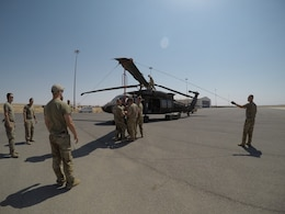 244th Combat Aviation Brigade Soldiers with Task Force Javelin unfold the blades of a UH-60 Blackhawk helicopter at King Abdullah II Air Base, Jordan in preparation for maintenance checks and maintenance test flights Aug. 13, 2019. The Soldiers of TF Javelin will provide medical evacuation and air assault support to Eager Lion, U.S. Central Command's premiere exercise in the Levant region.