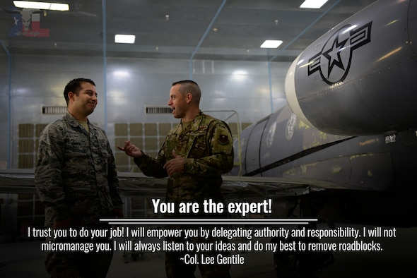 Col. Lee Gentile, 47th Flying Training Wing commander, will share his 12 expectations over the course of the next few months in a series of graphics. This week, Gentile talks about how he empowers the hard workers of Team XL by supporting and entrusting Airmen to excel in their respective jobs. (U.S. Air Force graphic by Airman 1st Class Marco A. Gomez)