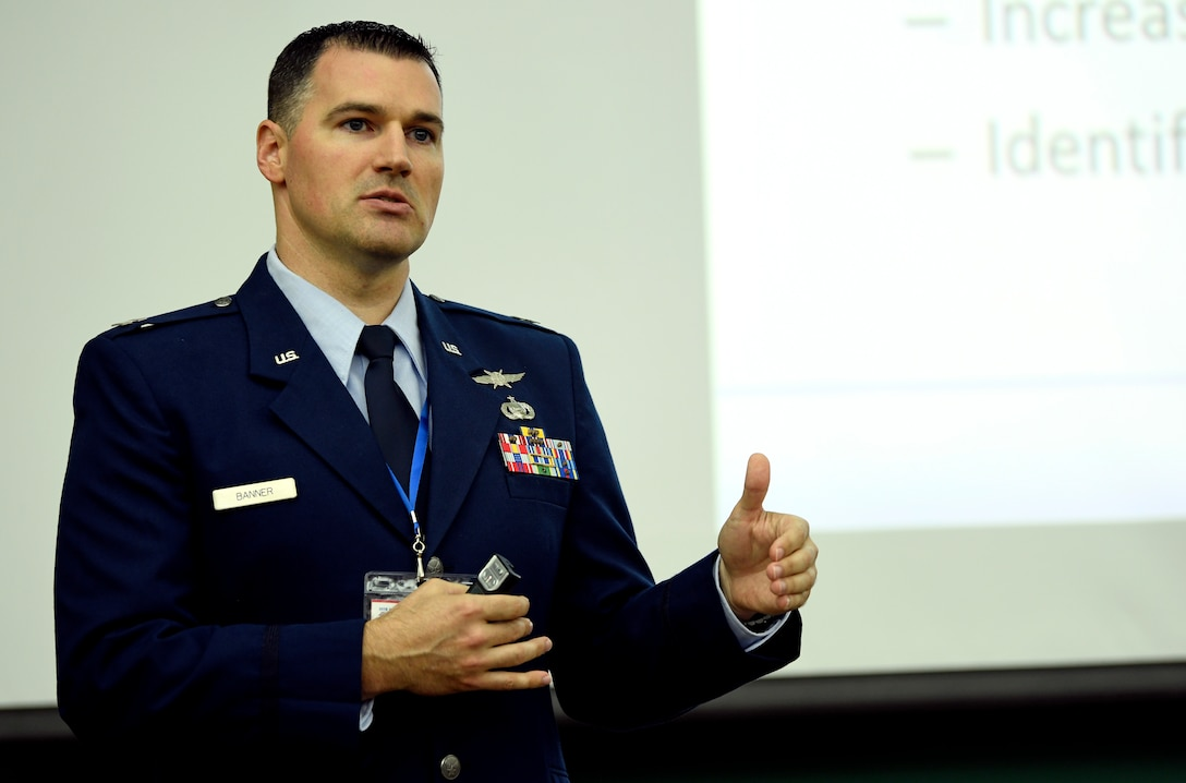 Capt. Jeffery Banner, 836th Cyberspace Operations Squadron Weapons, Tactics and Training chief, discusses cyber defense at the ninth annual CyberTexas Conference in San Antonio, Aug. 20, 2019. Banner explained how military partnerships with foreign countries and industry leaders can advance cybersecurity operations. (U.S. Air Force photo by Tech. Sgt. R.J. Biermann)