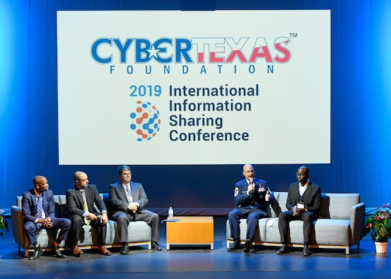 Chief Master Sgt. David Klink, 24th Air Force command chief, discusses cyber manning and readiness at the ninth annual CyberTexas Conference in San Antonio, Aug. 20, 2019. As command chief, Klink supports the 24th AF commander in providing trained and ready cyber forces to conduct full-spectrum cyberspace operations around the globe. (U.S. Air Force photo by Tech. Sgt. R.J. Biermann)