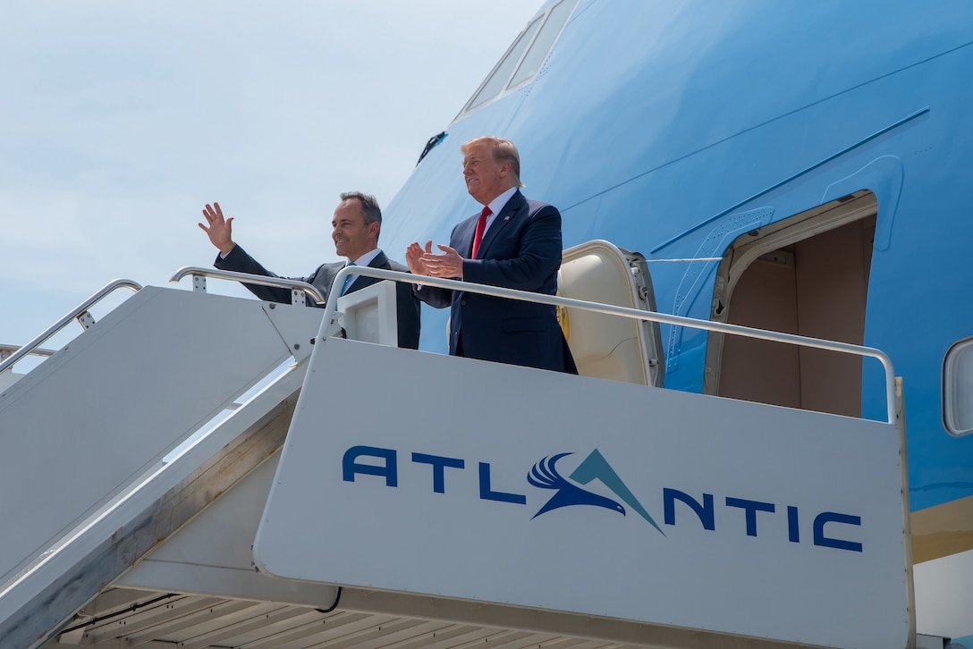 President Donald Trump (right) and Kentucky Gov. Matt Bevin arrive aboard Air Force One at the Kentucky Air National Guard Base in Louisville, Ky., Aug. 21, 2019. Trump was in town to speak at an AMVETS convention and attend a fundraiser for Bevin's re-election campaign. (U.S. Air National Guard photo by Staff Sgt. Joshua Horton)