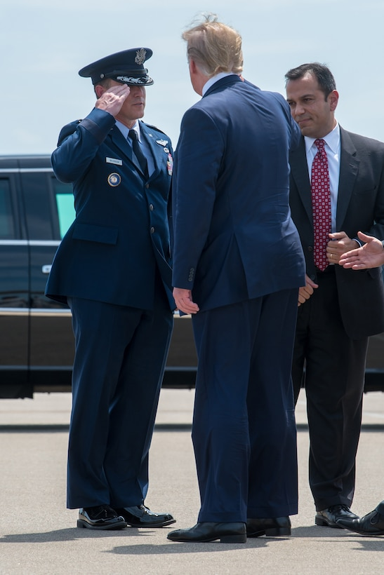 President Donald Trump greets Brig. Gen. Jeffrey Wilkinson, Kentucky's assistant adjutant general for Air, at the Kentucky Air National Guard Base in Louisville, Ky., Aug. 21, 2019. Trump was in town to speak at an AMVETS convention and attend a fundraiser for Kentucky Gov. Matt Bevin's re-election campaign. (U.S. Air National Guard photo by Staff Sgt. Joshua Horton)