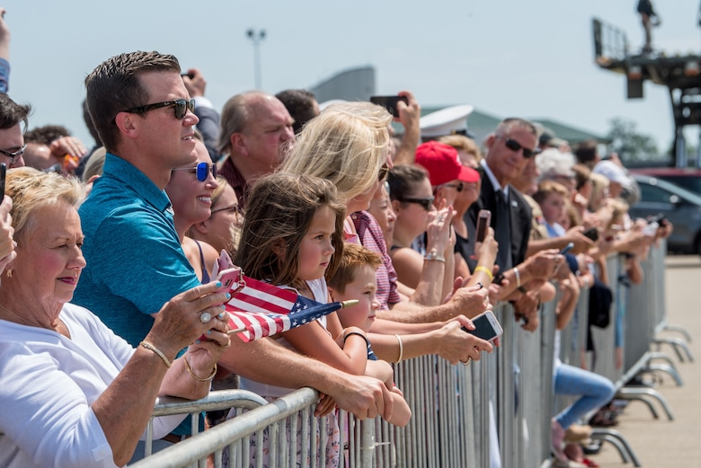 Supporters of President Donald Trump await his arrival at the Kentucky Air National Guard Base in Louisville, Ky., Aug. 21, 2019. Trump was in town to speak at an AMVETS convention and attend a fundraiser for Kentucky Gov. Matt Bevin's re-election campaign. (U.S. Air National Guard photo by Staff Sgt. Joshua Horton)