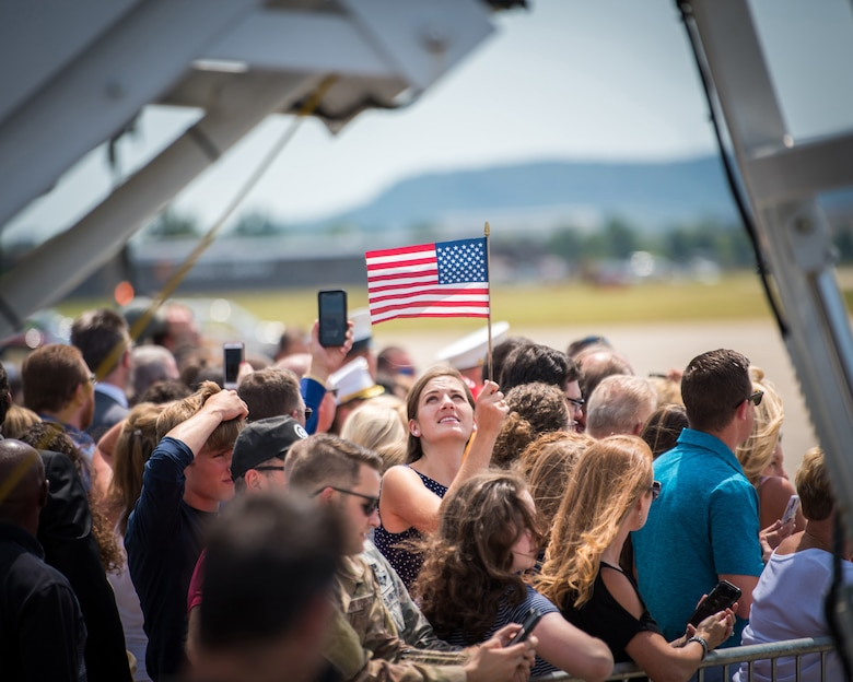 A supporter of President Donald Trump waits for his arrival at the Kentucky Air National Guard Base in Louisville, Ky., Aug. 21, 2019. Trump was in town to speak at an AMVETS convention and attend a fundraiser for Kentucky Gov. Matt Bevin's re-election campaign. (U.S. Air National Guard photo by Airman 1st Class Chloe Ochs)