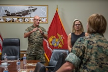U.S. Senator from Arizona, Kyrsten Sinema, visits Marine Corps Air Station (MCAS) Yuma, Ariz., August 21, 2019. Sen. Sinema met with the MCAS Yuma Commanding Officer, Col. David A. Suggs, and Sergeant Major, Sgt. Maj. David M. Leikwold, and the I Marine Expeditionary Force (MEF) Sgt. Maj., Sgt. Maj. James K. Porterfield. Sen. Sinema toured MCAS Yuma and spoke at a town hall meeting hosted by the air station at the station chapel. The town hall gave service members and civilians who work on the installation an opportunity to discuss topics that are important to them. (U.S. Marine Corps photo by Cpl. Sabrina Candiaflores)