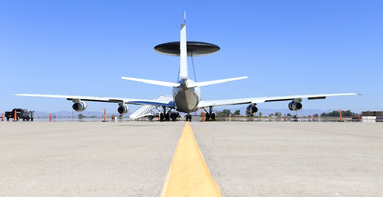 An E-3 Sentry Airborne Warning and Control System aircraft assigned to Tinker Air Force Base, Okla., sits on the transient ramp Aug. 19, 2019, at Luke AFB, Ariz.